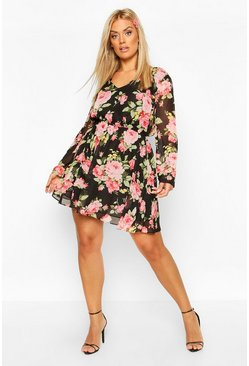 Black Plus Large Floral Print Chiffon Skater Dress