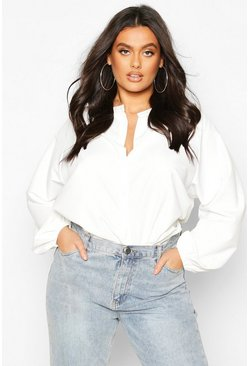 White Plus Cotton Feel Collarless Shirt