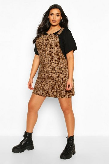 Brown Plus Leopard Print Cord Pinafore Dress