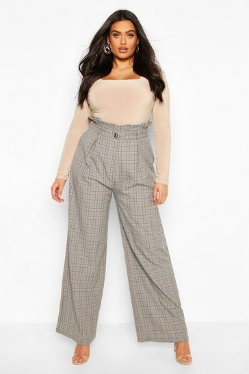 Grey Plus Wide Leg Belted Check Trousers