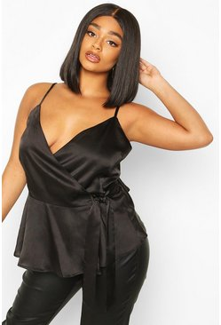 Black Plus Satin Wrap Tie Side Peplum Cami