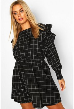 Black Plus Grid Check Ruffle Skater Dress