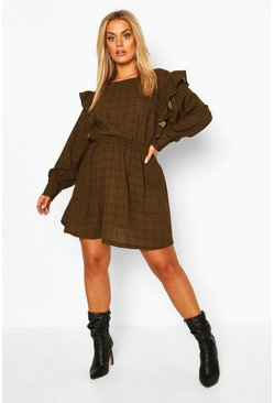 Khaki Plus Grid Check Ruffle Skater Dress