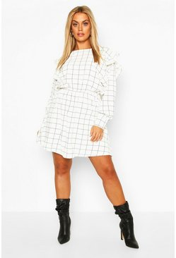 White Plus Grid Check Ruffle Skater Dress