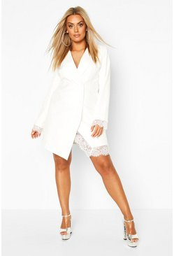 Plus Lace Insert Blazer Dress, Ivory