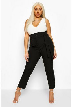 Black Plus High Waist Self Belt Tailored Slim Trouser