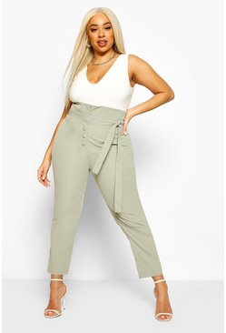 Grey Plus High Waist Self Belt Tailored Slim Trouser