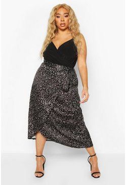 Black Plus Smudge Spot Satin Wrap Midaxi Skirt