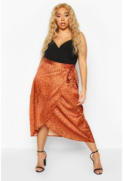 Plus Smudge Spot Satin Wrap Midaxi Skirt, Rust