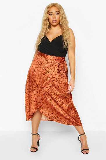 Rust Plus Smudge Spot Satin Wrap Midaxi Skirt