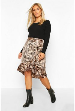 Womens Blush Plus Zebra Print Ruffle Self Belt Midi Skirt