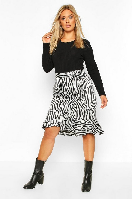 Grey Plus Zebra Print Ruffle Self Belt Midi Skirt