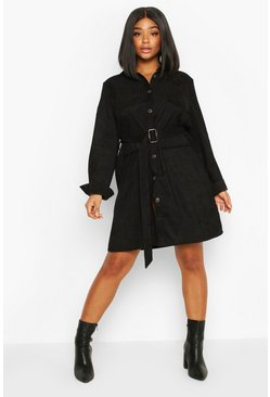 Plus Baby Cord Utility Pocket Shirt Dress, Black