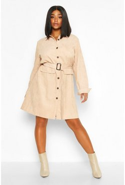 Blush Plus Baby Cord Utility Pocket Shirt Dress