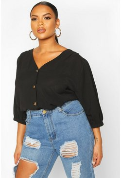 Black Plus Button Through 3/4 Sleeve Blouse