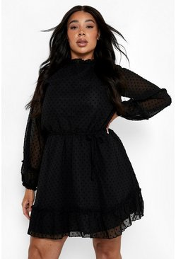 Black Plus High Neck Dobby Mesh Skater Dress