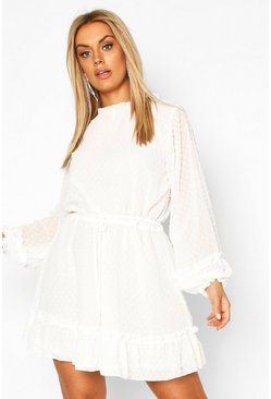 Ivory Plus High Neck Dobby Mesh Skater Dress