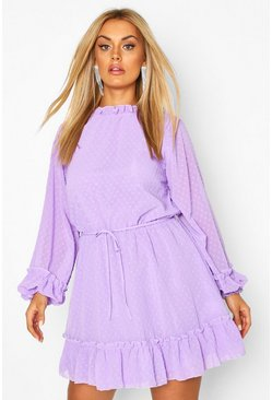 Plus High Neck Dobby Mesh Skater Dress, Lilac
