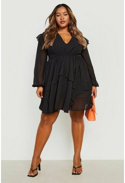 Black Plus Tiered Ruffle Plunge Skater Dress