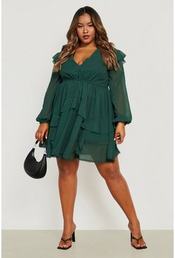 Forest Plus Tiered Ruffle Plunge Skater Dress