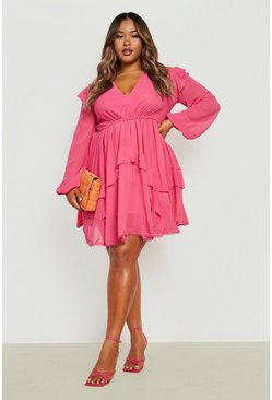Plus Tiered Ruffle Plunge Skater Dress, Pink