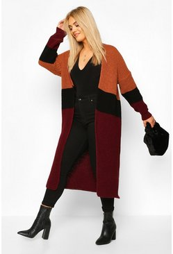 Plus Colour Block Knitted Maxi Cardigan, Berry