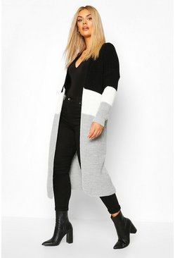 Plus Colour Block Knitted Maxi Cardigan, Grey, FEMMES