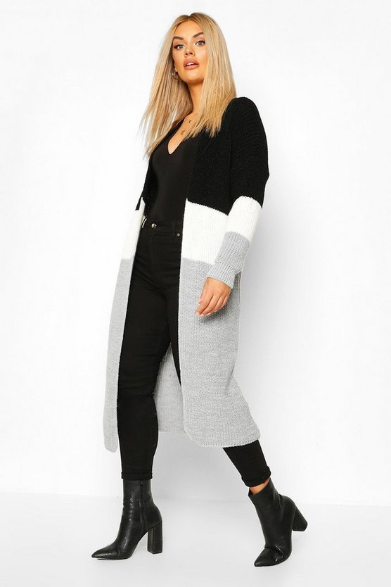 Plus Colour Block Knitted Maxi Cardigan