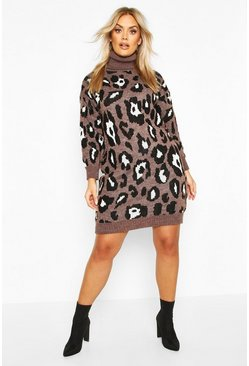 Plus Leopard Knitted Roll Neck Midi Dress, Brown