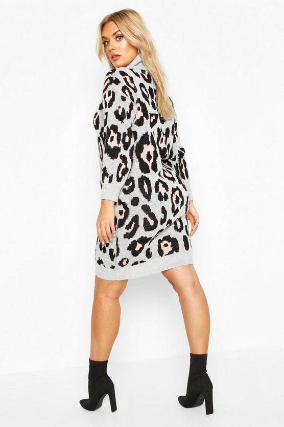 Plus Leopard Knitted Roll Neck Midi Dress