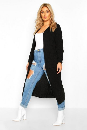 Womens Black Plus Knitted Twist Detail Pocket Maxi Cardigan
