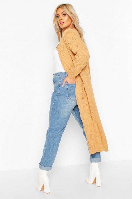 Plus Knitted Twist Detail Pocket Maxi Cardigan
