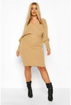 Womens Camel Plus Wrap Knittted Midi Dress