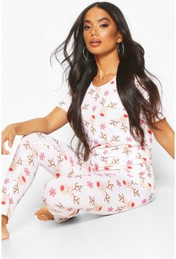 Womens White Petite Christmas Reindeer PJ Set