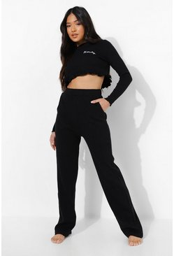 Petite 'Honey' Slogan Frill Top PJ Set, Black