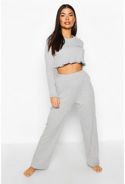 Grey Petite 'Honey' Slogan Frill Top PJ Set