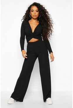 Womens Black Petite Twist Front Top & Wide Leg Trouser Co-Ord
