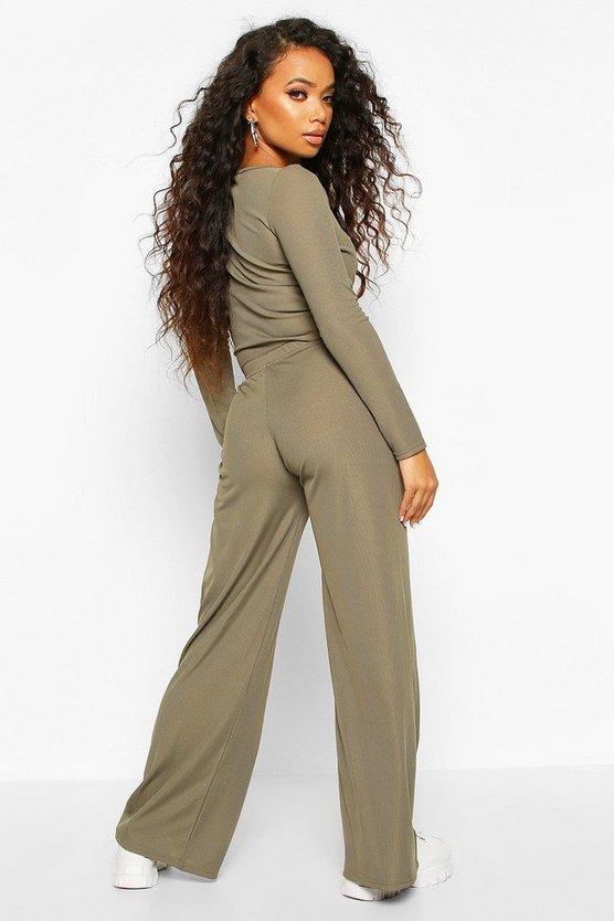 Petite Twist Front Top & Wide Leg Trouser Co-Ord
