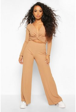 Petite Twist Front Top & Wide Leg Trouser Co-Ord, Camel