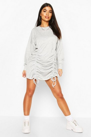 Womens Grey Petite Ruched Sweat Dress