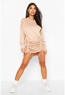Petite Ruched Sweat Dress, Stone, DAMEN