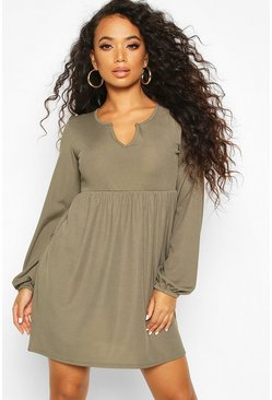 Womens Khaki Petite Blouson Sleeve Notch Neck Rib Smock Dress