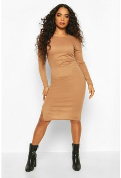 Petite Ruched Shoulder Knitted Rib Midi Dress, Camel