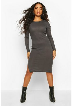 Charcoal Petite Ruched Shoulder Knitted Rib Midi Dress