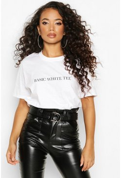Petite 'Basic White Tee' Slogan T-Shirt