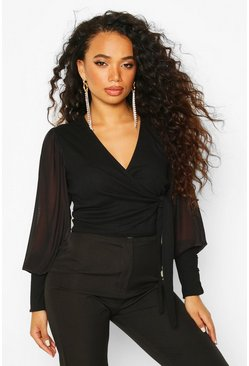 Black Petite Mesh Puff Sleeve Ribbed Wrap Top
