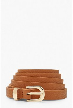 Tan Plus Skinny Belt