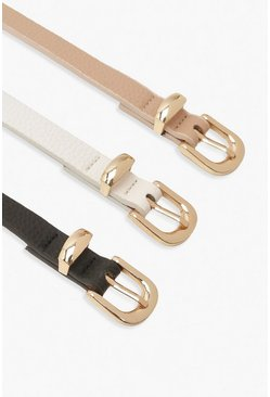 Pink Plus 3 Pack Skinny Belt