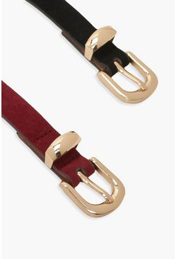 Plus Suedette Skinny Belt 2 Pack, Berry