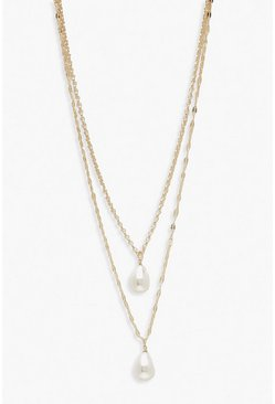 Gold Plus Double Pearl Choker Necklace